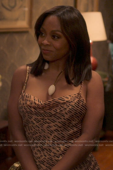 Renee's leopard print cowl neck dress on Run the World