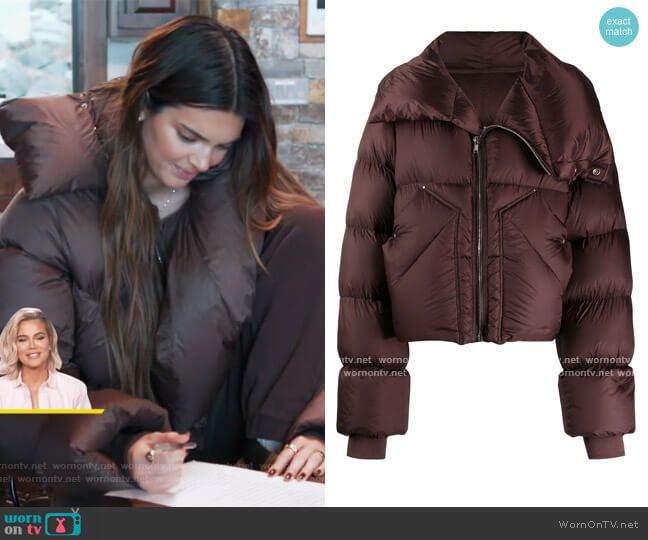Padded Oversized Down Jacket by Rick Owens worn by Kendall Jenner  on Keeping Up with the Kardashians