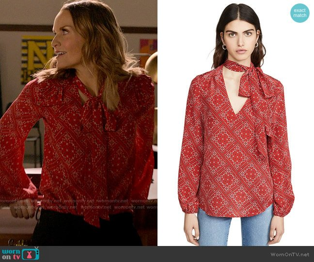 Rixo Moss Blouse in Scarf Floral Red worn by Miss Jenn (Kate Reinders) on High School Musical The Musical The Series