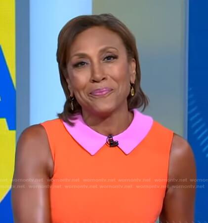 Robin's pink and orange collared sleeveless dress on Good Morning America