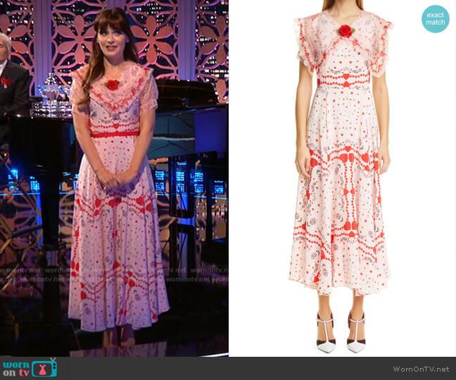 Rodarte Heart & Floral Print Ruffle Collar Silk Maxi Dress worn by Zooey Deschanel  on Celebrity Dating Game
