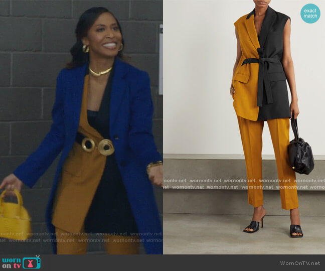 Paola belted two-tone grain de poudre and twill vest and pants by Roksanda worn by Yasha Jackson on The Bold Type