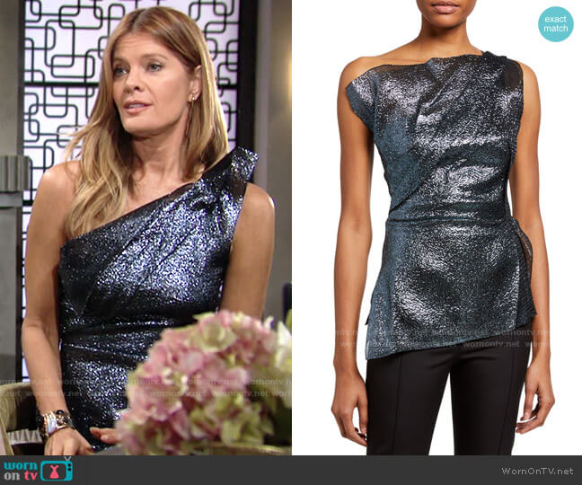 Roland Mouret Braxton Top worn by Phyllis Summers (Michelle Stafford) on The Young & the Restless