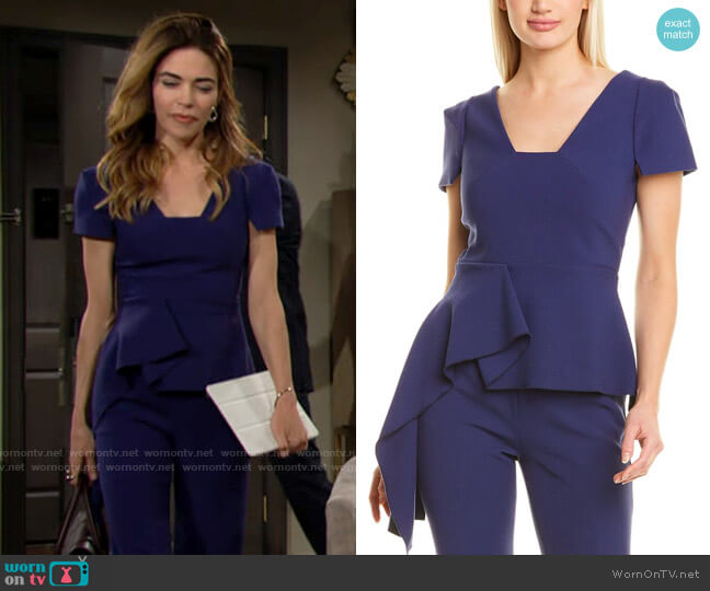 Roland Mouret Irene Top worn by Victoria Newman (Amelia Heinle) on The Young & the Restless