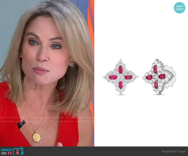 Princess Flower Stud Earrings by Roberto Coin worn by Amy Robach  on Good Morning America