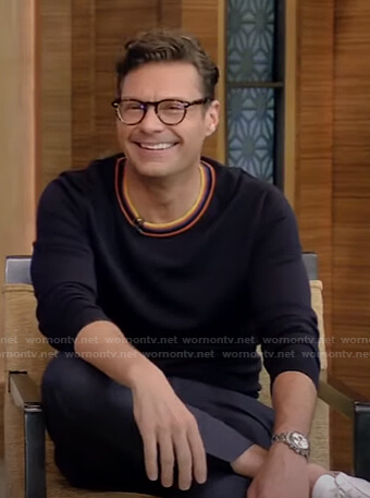 Ryan's striped neck sweater on Live with Kelly and Ryan