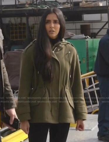 Saanvi's green hooded jacket on Manifest