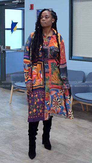 Sabrina's colorful printed shirt dress on Tyler Perrys Sistas
