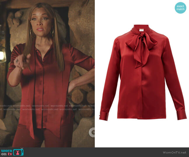 Pussy-Bow Silk-Satin Blouse by Saint Laurent worn by Dominique Deveraux (Michael Michele) on Dynasty