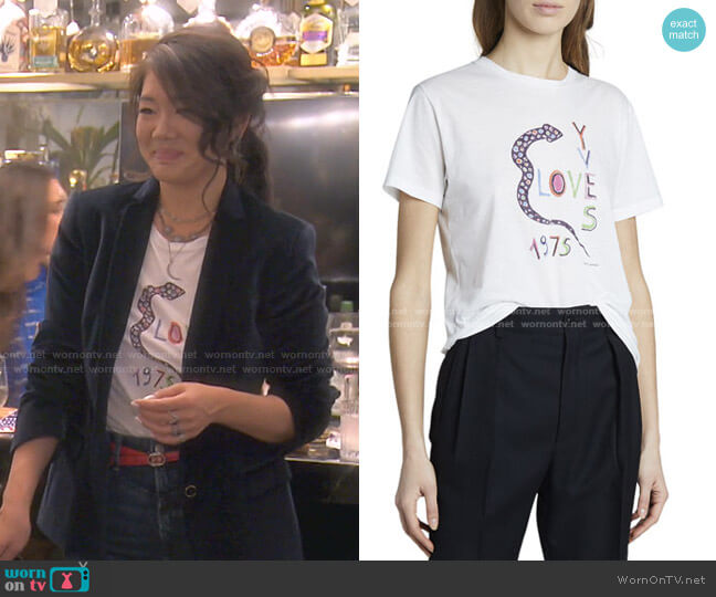 Yves Love 1975 Snake Logo Graphic T-Shirt by Saint Laurent worn by Crystal Kung Minkoff  on The Real Housewives of Beverly Hills