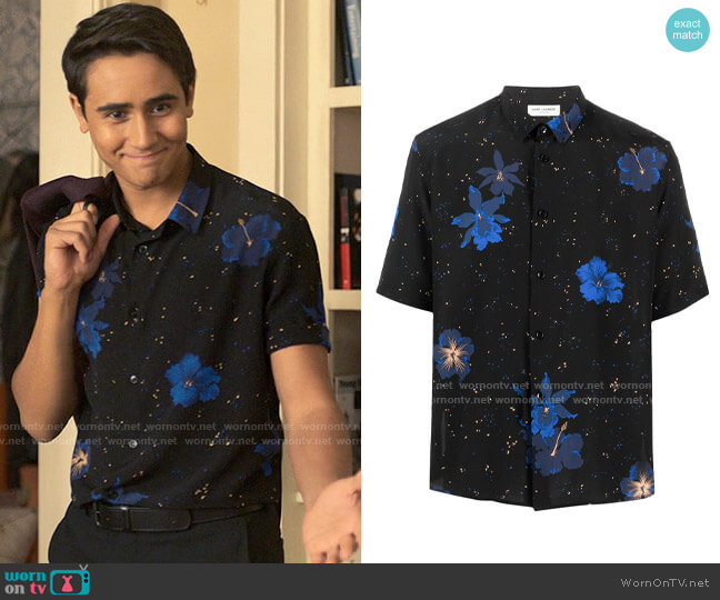 Saint Laurent Short-Sleeve Floral-Print Shirt worn by Victor Salazar (Michael Cimino) on Love Victor