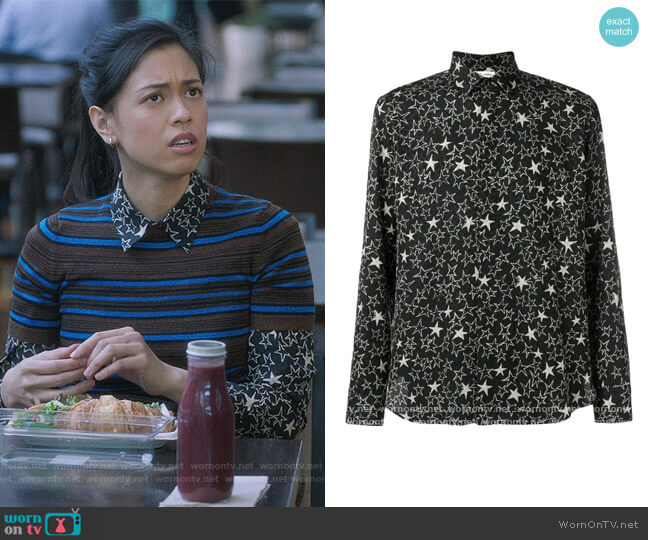 Star Print Shirt by Saint Laurent worn by Christine L Nguyen on The Bold Type