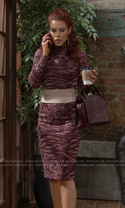 Sally's burgundy animal print dress on The Young and the Restless
