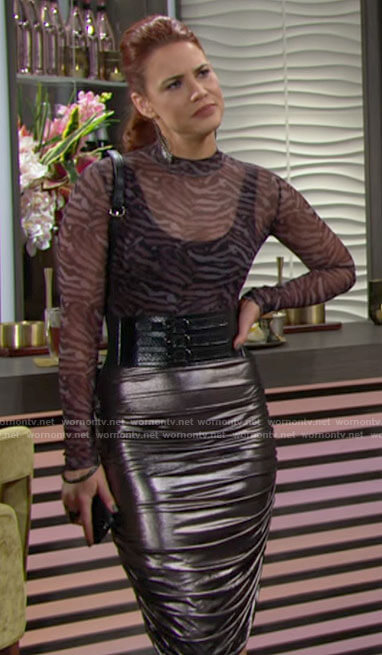 Sally's tiger print mesh top and silver skirt on The Young and the Restless