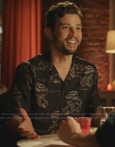 Sam's black snake print shirt on Dynasty