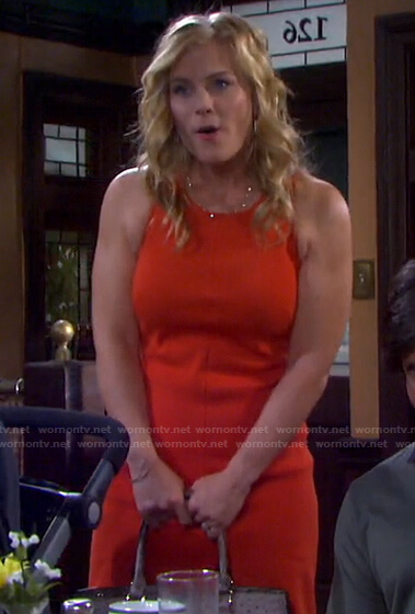 Sami's red sleeveless dress on Days of our Lives