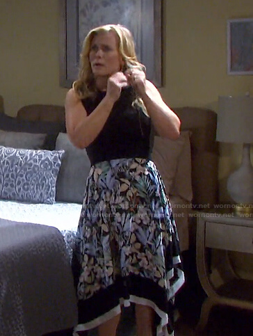 Sami's black top and floral handkerchief hem skirt on Days of our Lives