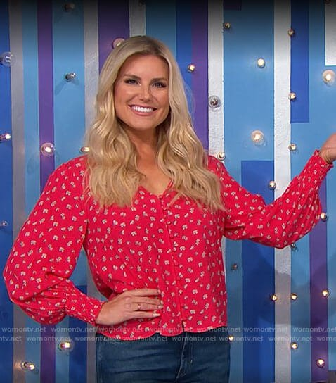 Rachel's red floral blouse on The Price is Right