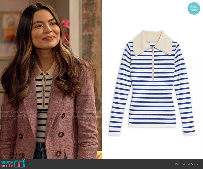 Sandro Arthur Striped Sweater worn by Carly Shay (Miranda Cosgrove) on iCarly