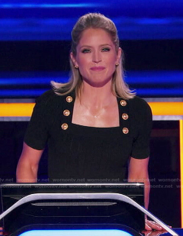 Sara's black square neck dress with gold buttons on The Chase
