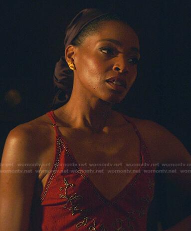 Sasha's red embellished cami on Sex/Life