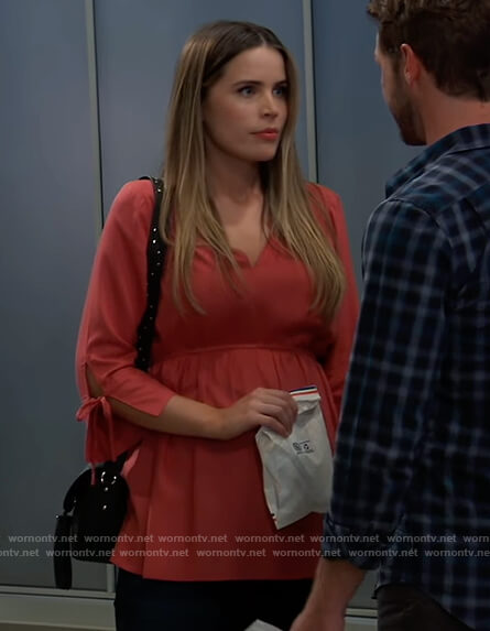 Sasha's pink tie cuff maternity blouse on General Hospital
