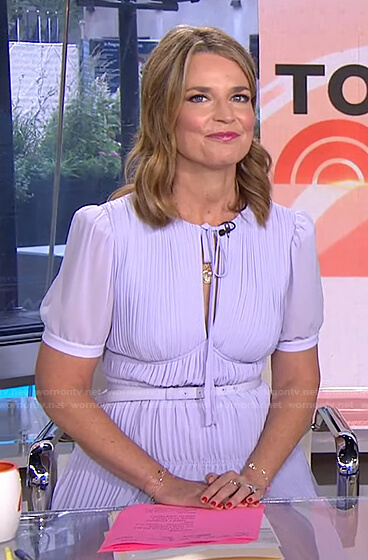 Savannah's lilac pleated tie neck dress on Today