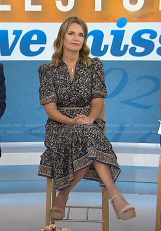Savannah's paisley print tie waist dress on Today