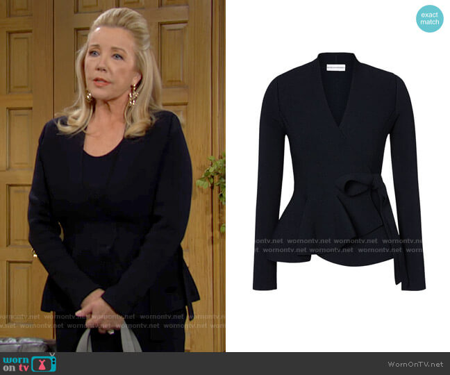 Scanlan Theodore Crepe Knit Wrap Jacket worn by Nikki Reed Newman (Melody Thomas-Scott) on The Young & the Restless