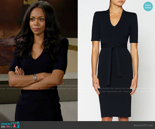 Scanlan Theodore Crepe Knit V-neck Dress worn by Amanda Sinclair (Mishael Morgan) on The Young & the Restless