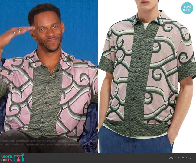 Jacquard Knit Short Sleeve Button-Up Shirt by Scotch and Soda worn by Victor Cruz on The Talk