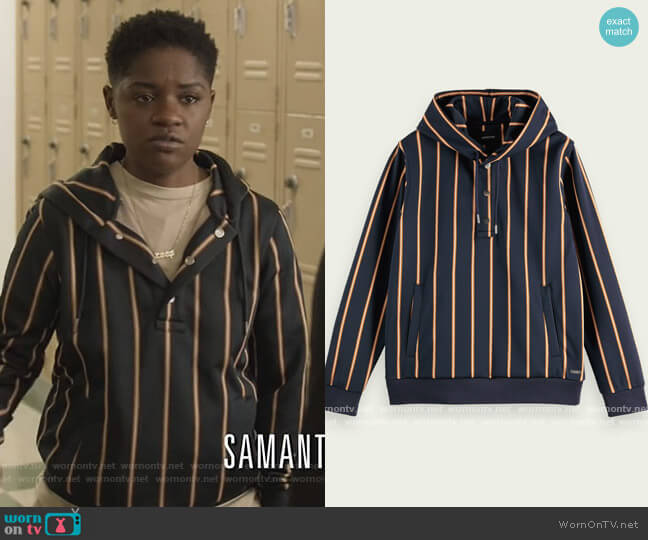 Striped hooded sweater Scotch & Soda worn by Tamia Cooper (Bre Z) on All American