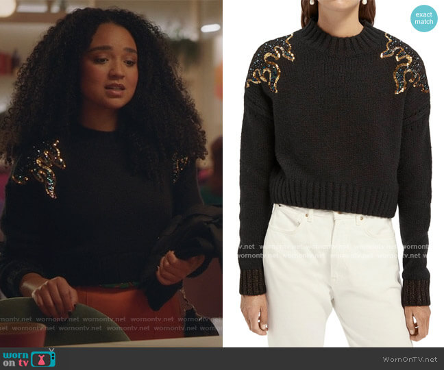 Flame Sequin Sweater by Scotch and Soda worn by Kat Edison (Aisha Dee) on The Bold Type