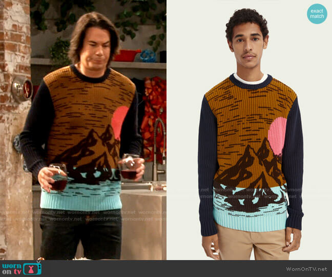 Scotch & Soda Cotton-blend artwork sweater worn by Spencer Shay (Jerry Trainor) on iCarly