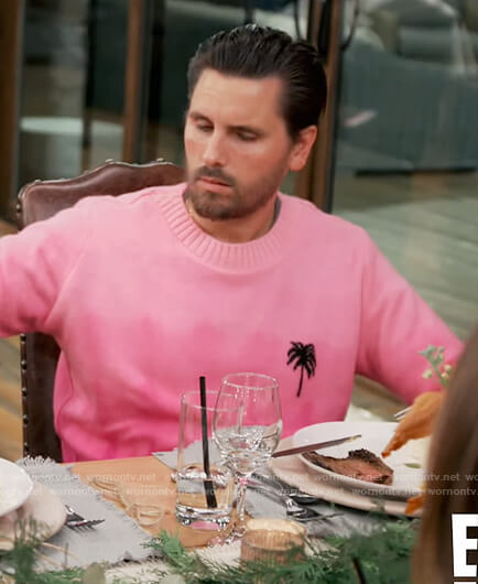 Scott's pink palm embroidered sweater on Keeping Up with the Kardashians