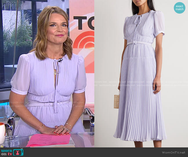 Belted Pleated Chiffon Midi Dress by Self Portrait worn by Savannah Guthrie  on Today