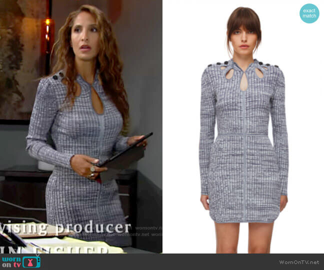 Self Portrait Navy and White Ribbed Dress worn by Lily Winters (Christel Khalil) on The Young & the Restless