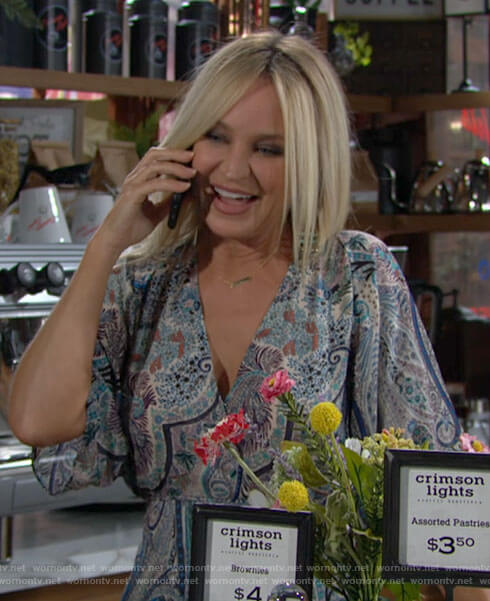 Sharon's paisley maxi dress on The Young and the Restless