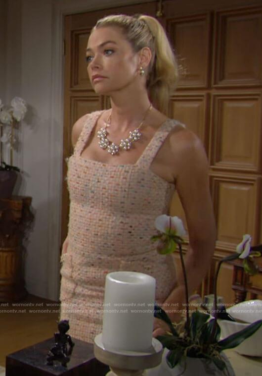 Shauna's peach tweed mini dress on The Bold and the Beautiful