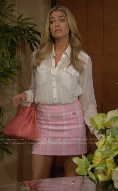 Shauna's pink houndstooth skirt and white blouse on The Bold and the Beautiful