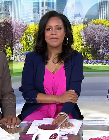 Sheinelle's pink tie front jumpsuit on Today