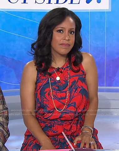 Sheinelle's red and blue printed sleeveless dress on Today