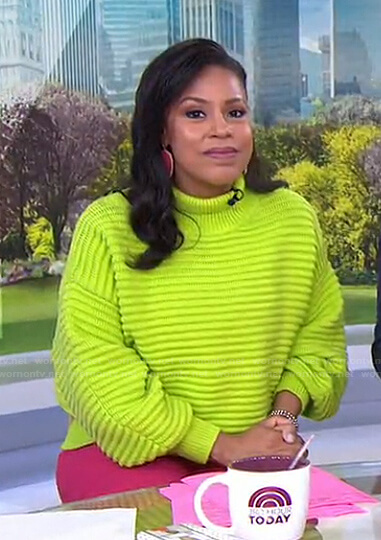 Sheinelle's yellow ribbed sweater on Today