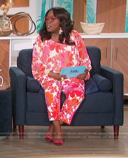Sheryl's floral print blouse and pants on The Talk
