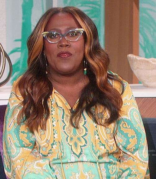 Sheryl's green paisley print blouse on The Talk