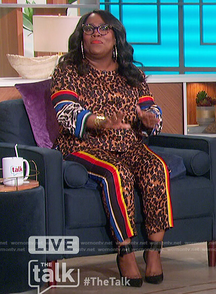 Sheryl's leopard print top and pants on The Talk