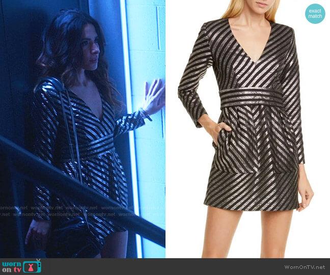 Metallic Stripe Minidress by Smythe worn by Billie Connelly (Sara Shari) on Sex/Life