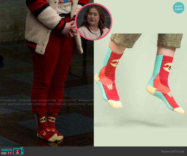 Socks for Animals Brown Throated Sloth Socks worn by Ashlyn (Julia Lester) on High School Musical The Musical The Series
