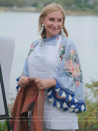 Sonja's blue floral tassel trim blouse on The Real Housewives of New York City