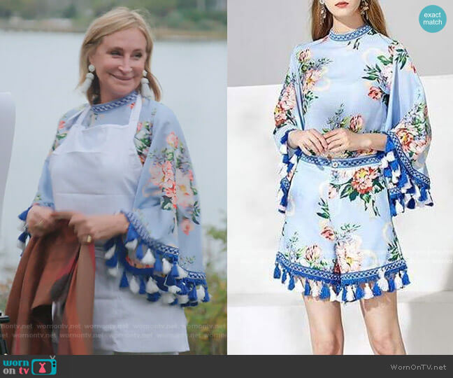 Blue Floral Tassel Two Piece Set by Sonja worn by Sonja Morgan  on The Real Housewives of New York City